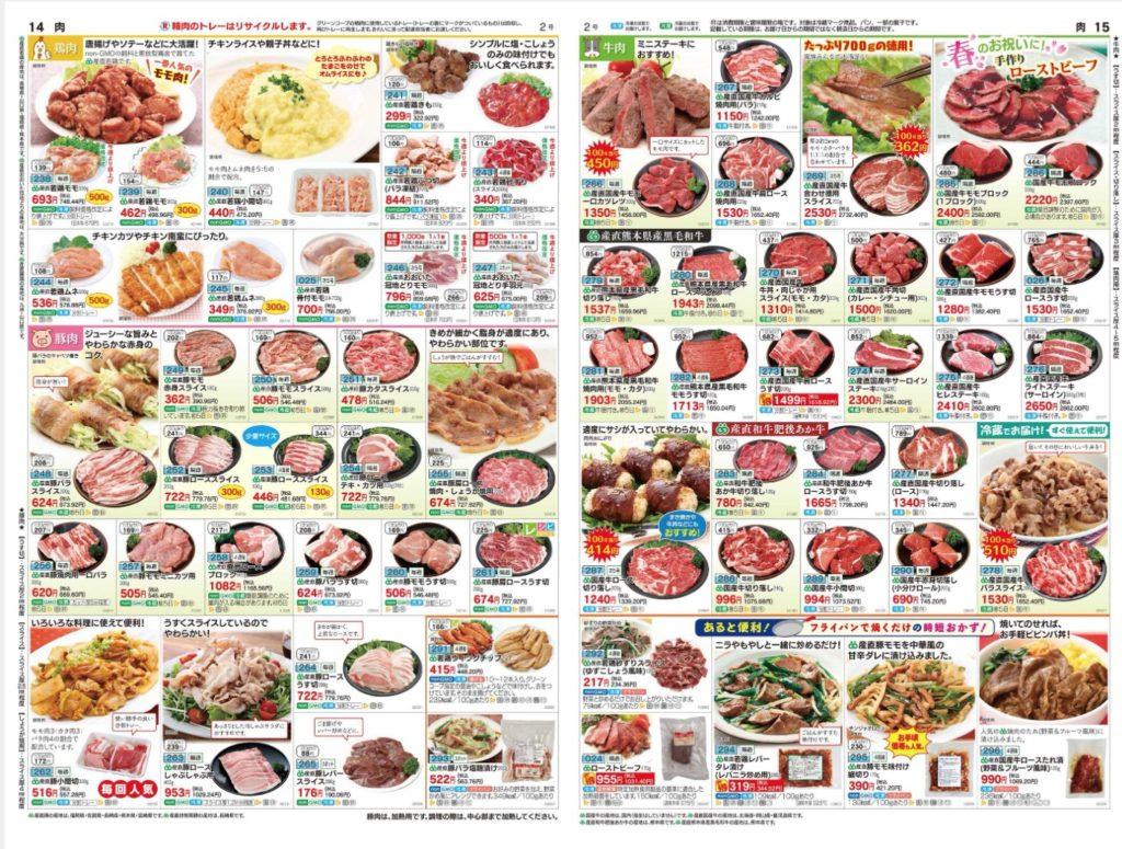肉が掲載されているグリーンコープのカタログ「GREEN」の2021年4月の2号14〜15ページ