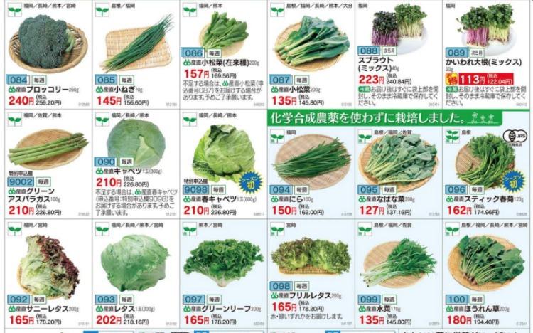 グリーンコープの野菜のカタログ